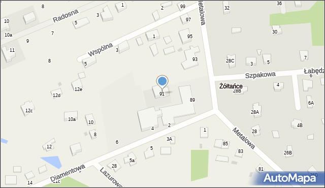 Żółtańce-Kolonia, Metalowa, 91, mapa Żółtańce-Kolonia