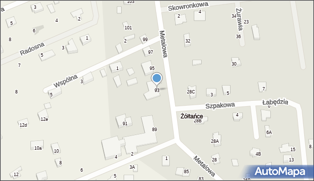 Żółtańce-Kolonia, Metalowa, 93, mapa Żółtańce-Kolonia