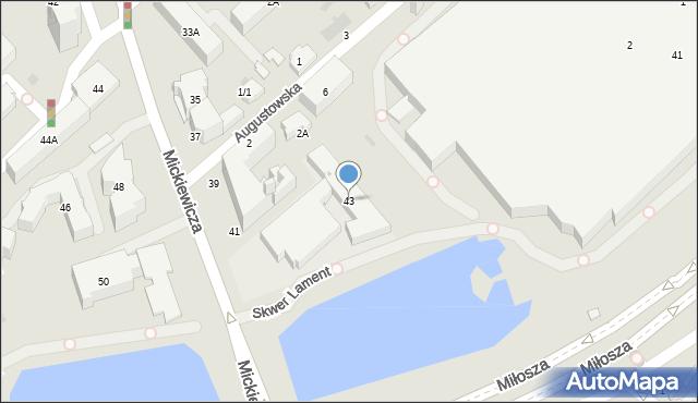 Białystok, Mickiewicza Adama, 43, mapa Białegostoku