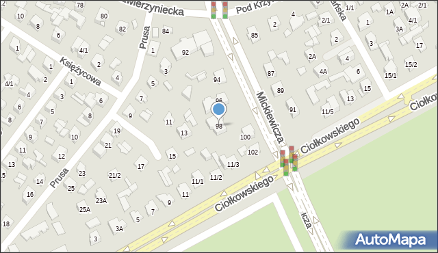 Białystok, Mickiewicza Adama, 98, mapa Białegostoku