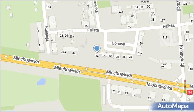Bytom, Miechowicka, 34, mapa Bytomia