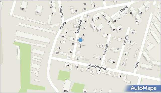 Bytom, Miodowa, 9, mapa Bytomia