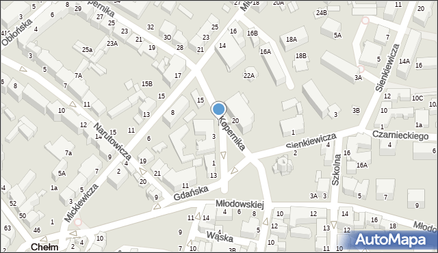 Chełm, Mickiewicza Adama, 10, mapa Chełma