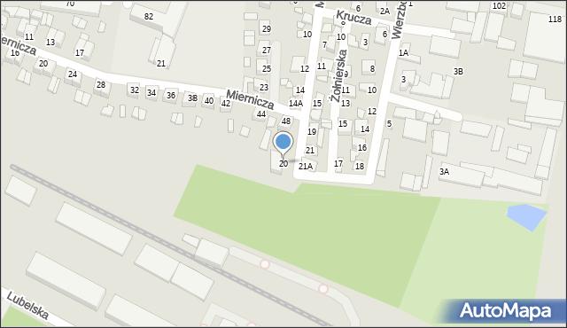 Chełm, Miła, 20, mapa Chełma