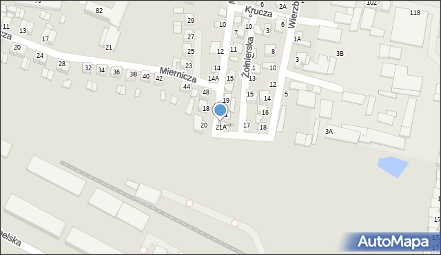 Chełm, Miła, 21A, mapa Chełma
