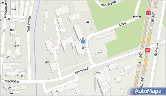 Częstochowa, Mirowska, 15, mapa Częstochowy