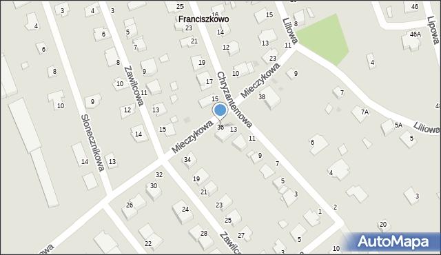 Grudziądz, Mieczykowa, 36, mapa Grudziądza