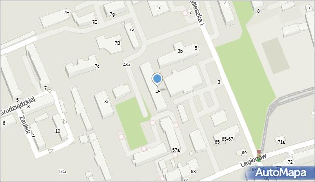 Grudziądz, Mieszka I, 3A, mapa Grudziądza