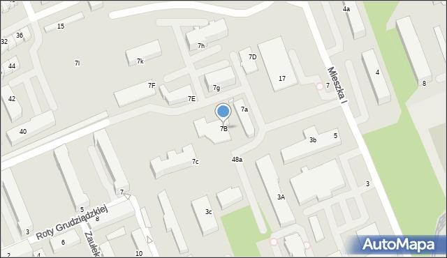 Grudziądz, Mieszka I, 7B, mapa Grudziądza