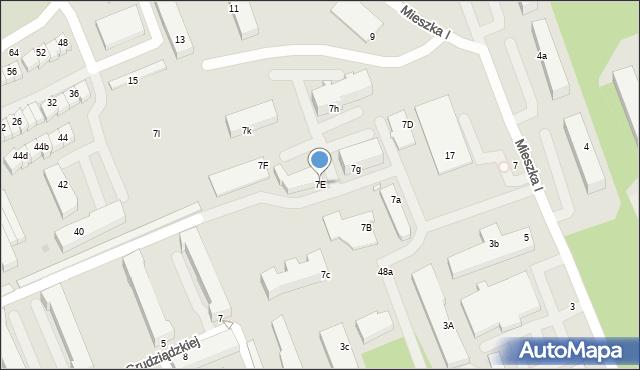 Grudziądz, Mieszka I, 7E, mapa Grudziądza