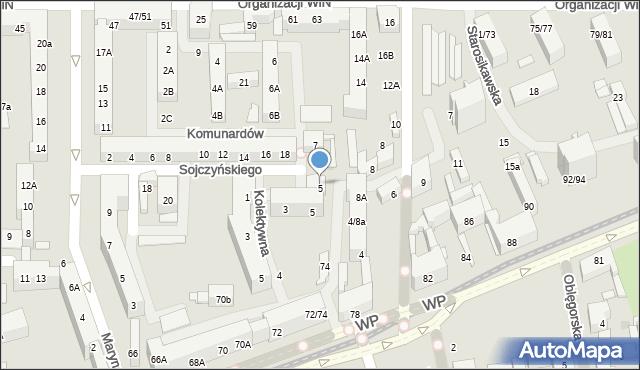 Łódź, Mianowskiego Józefa, 5, mapa Łodzi