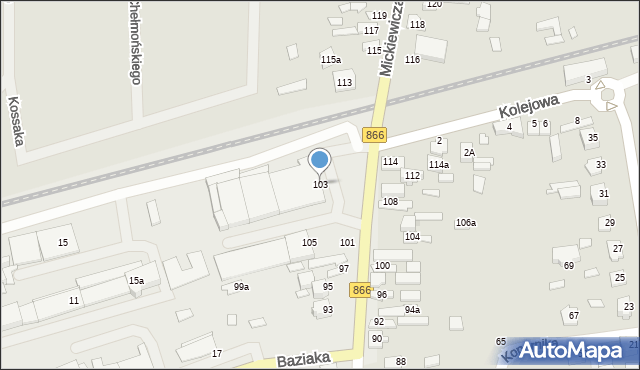 Lubaczów, Mickiewicza Adama, 103, mapa Lubaczów