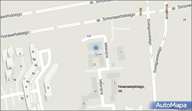 Lublin, Milenijna, 2, mapa Lublina