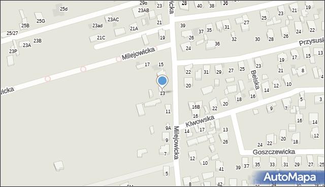 Radom, Milejowicka, 13, mapa Radomia