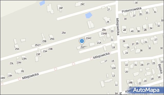 Radom, Milejowicka, 21C, mapa Radomia