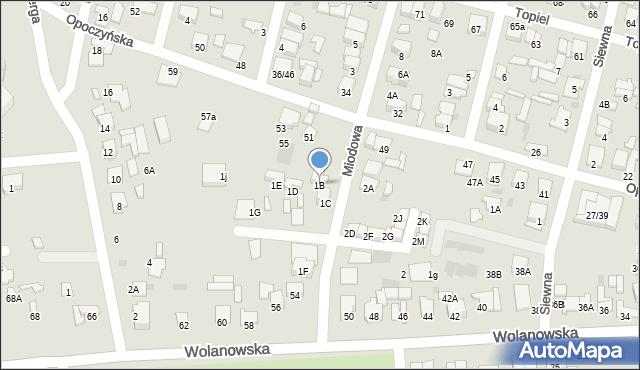 Radom, Miodowa, 1B, mapa Radomia
