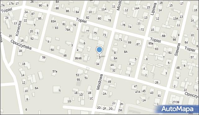 Radom, Miodowa, 3, mapa Radomia
