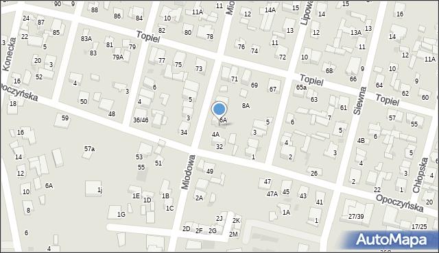 Radom, Miodowa, 6, mapa Radomia