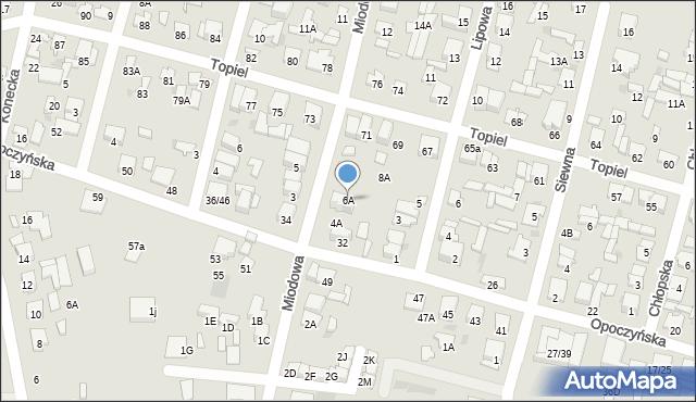 Radom, Miodowa, 6A, mapa Radomia