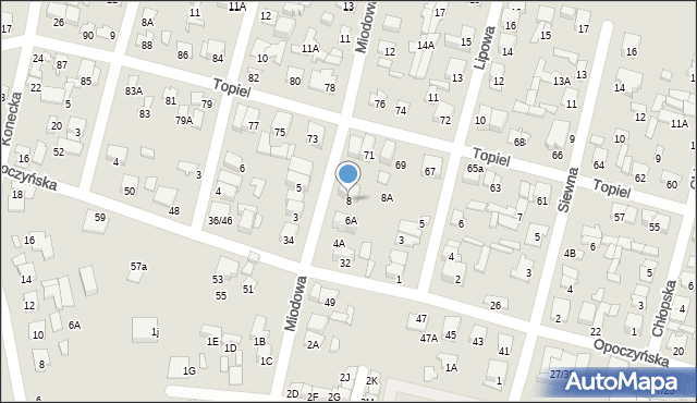 Radom, Miodowa, 8, mapa Radomia