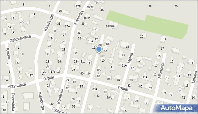 Radom, Miodowa, 9, mapa Radomia
