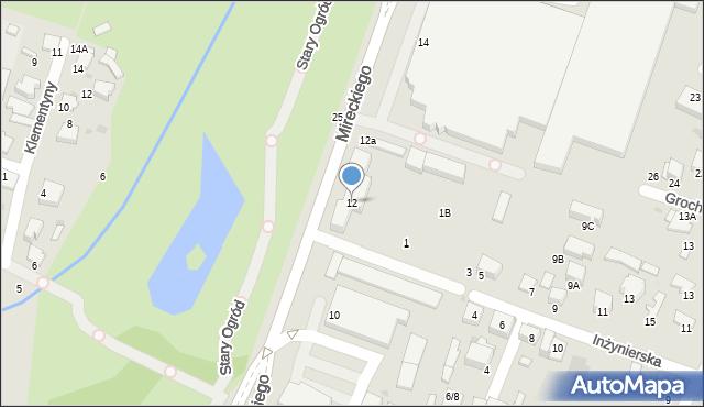 Radom, Mireckiego Józefa, 12, mapa Radomia