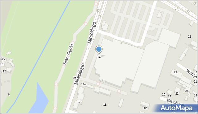 Radom, Mireckiego Józefa, 14, mapa Radomia