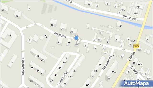 Ruda Śląska, Miodowa, 11, mapa Rudy Śląskiej