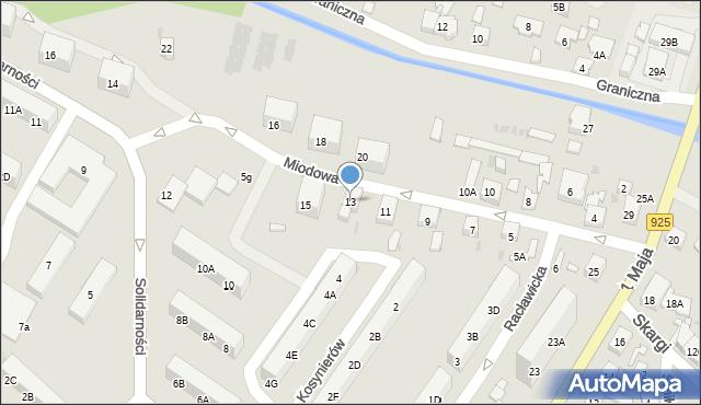 Ruda Śląska, Miodowa, 13, mapa Rudy Śląskiej