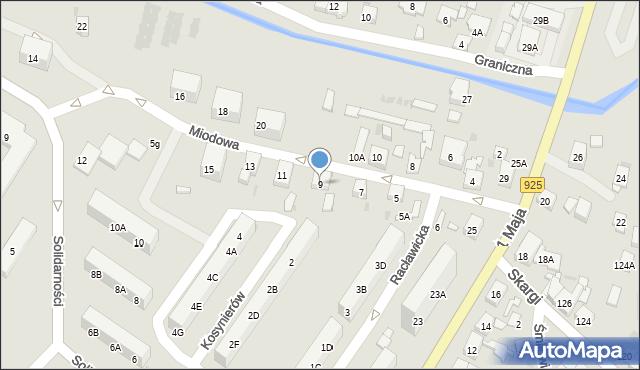 Ruda Śląska, Miodowa, 9, mapa Rudy Śląskiej