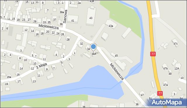 Rudnik nad Sanem, Mickiewicza Adama, 34A, mapa Rudnik nad Sanem