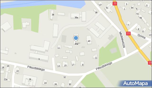 Rudnik nad Sanem, Mickiewicza Adama, 40a, mapa Rudnik nad Sanem