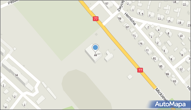 Rudnik nad Sanem, Mickiewicza Adama, 44, mapa Rudnik nad Sanem