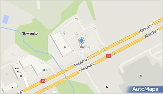 Szczecin, Mieszka I, 29a, mapa Szczecina