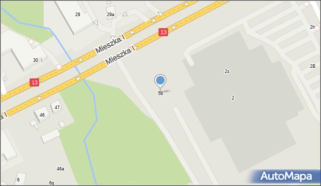 Szczecin, Mieszka I, 58, mapa Szczecina