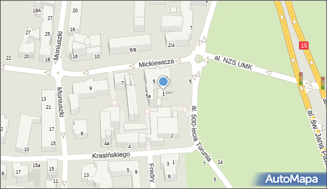 Toruń, Mickiewicza Adama, 1, mapa Torunia