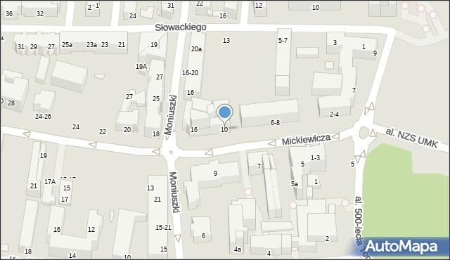 Toruń, Mickiewicza Adama, 10, mapa Torunia