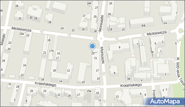 Toruń, Mickiewicza Adama, 13, mapa Torunia