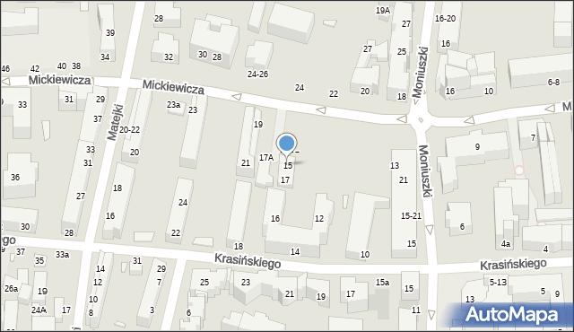 Toruń, Mickiewicza Adama, 15, mapa Torunia