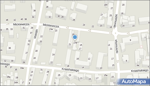 Toruń, Mickiewicza Adama, 17A, mapa Torunia