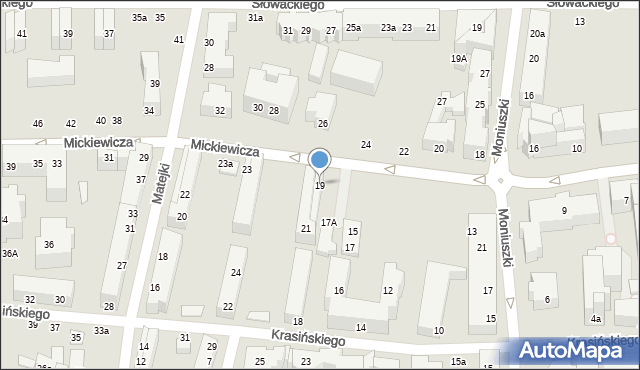 Toruń, Mickiewicza Adama, 19, mapa Torunia