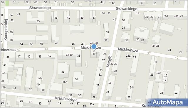 Toruń, Mickiewicza Adama, 31, mapa Torunia