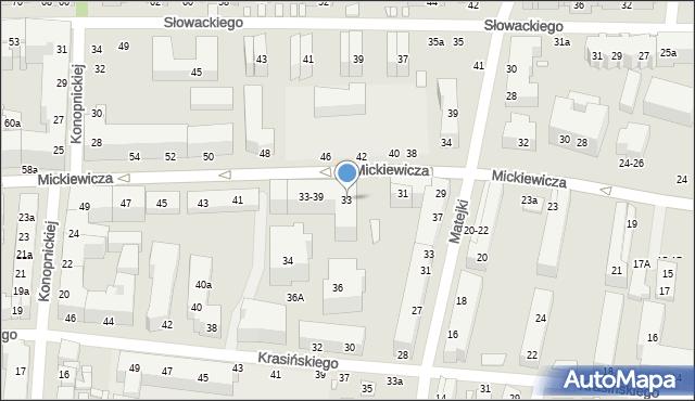 Toruń, Mickiewicza Adama, 33, mapa Torunia