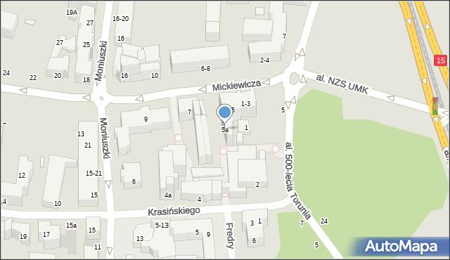 Toruń, Mickiewicza Adama, 5a, mapa Torunia