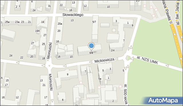 Toruń, Mickiewicza Adama, 6/8, mapa Torunia
