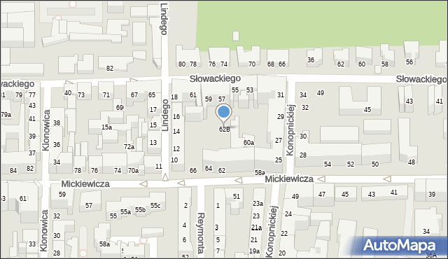 Toruń, Mickiewicza Adama, 62B, mapa Torunia