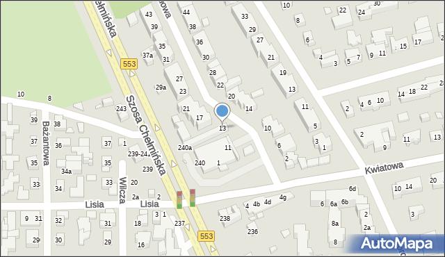 Toruń, Migdałowa, 13, mapa Torunia