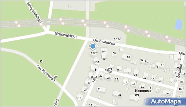 Toruń, Miła, 32a, mapa Torunia