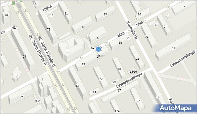 Warszawa, Miła, 17, mapa Warszawy