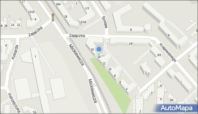 Warszawa, Mickiewicza Adama, 14, mapa Warszawy